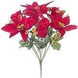 2 x 30 cm Artificial Rojo/Oro Poinsettia & Rose Flor Arbusto Navidad Hogar