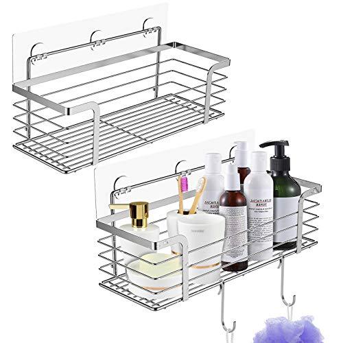 Duschregal ohne Bohren, Mefine Duschablage Selbstklebend Rostfrei, Duschkorb Ablagen Wandablage mit 6 Haken für Badezimmer Bad Küche - 2 Stück