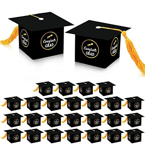 Graduation Party Decorations Gift Box - Congrats Grad Cap Shape Treat Boxes | Graduation Party Favor | Graduation Gift Box | Graduation Candy Box for Chocolate | Favors for Kids, Guests. Grad | 25 ct
