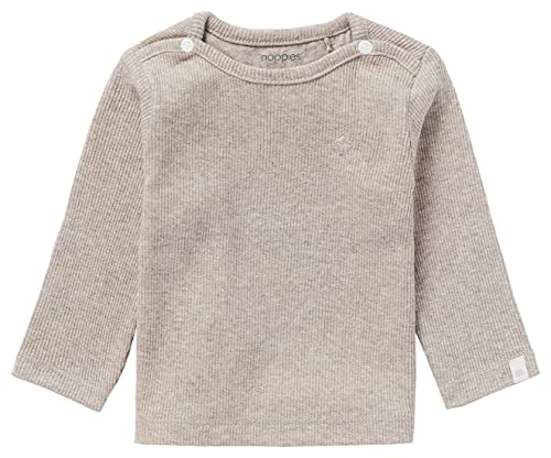 Noppies Unisex Baby U Tee Ls Rib Natal T Shirt, Taupe Melange, 62 EU