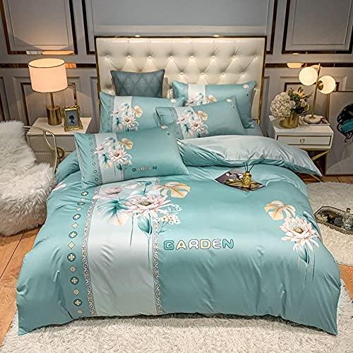 juego de funda nórdica cama 90-Punto de algodón Lavado de agua Seda Gran versión de la ropa de cama de impresión Reino especial Down Set Individual cama doble de una sola almohada regalo-Di_Cama de 2