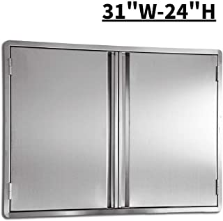 CIOGO Outdoor Kitchen Cabinets 31x24 Inch Double Wall BBQ Doors, 304 All Brushed Stainless Steel Double BBQ Access Doors for BBQ Island, BBQ Grill, Outdoor Kitchen or Outside Cabinet, Built-in