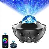 Smart Star Proyector Luz de noche, ALED LIGHT Ocean Wave Altavoz Bluetooth incorporado Sensor de sonido LED Aplicación remota Control de luz Lámpara de proyector