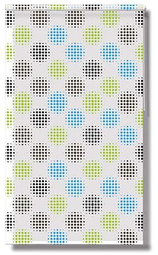 Acus Duschrollo Big Points | BxH 140x240cm | weiß grün blau Punkte | Duschvorhang | Badezimmer |