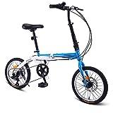 WXLSQ Outroad de Bicicletas de montaña de 16 Pulgadas de Bicicletas, con la suspensión Antideslizante 7 Velocidad Bicicleta Plegable de MTB Bici, bicis de MTB, por Niño Adolescentes Ciclo,Azul,16in