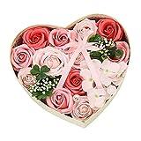 Gobesty Rosenbox Rose Geschenk, Herz Seifenblume in Geschenkbox Gefälschte Blumen-Geschenkbox Romantisches Seife Blume Geschenk für sie am Hochzeit, Valentinstag, Hochzeit, Jahrestag, Muttertag, Rosa