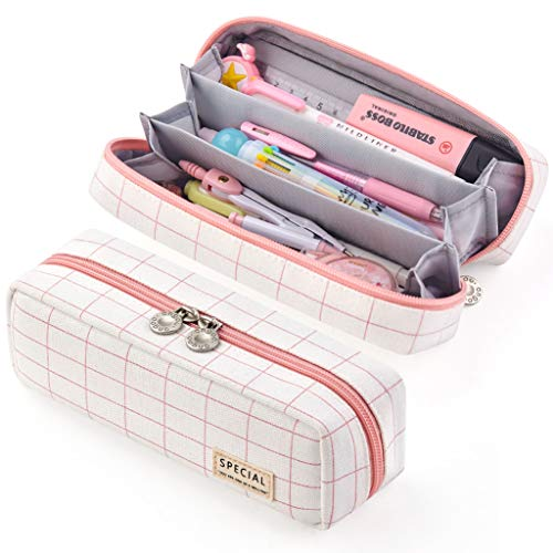 EASTHILL Pencil Case Grid Pencil Pouch with 3 Compartments Stationery Bag Pencil Bag for Girls Teens Students Art School and Office Supplies (Long Plaid Pink)