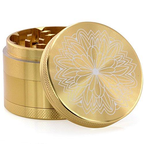 DCOU Premium Krautmühle mit Siebgrinder bruchfester Aluminium Mahler Crusher Gewürze Schleifer mit Blumen auf dem Deckel Magnetisch Ø55mm 4-teilig (Goldenes Chrysanthemum)