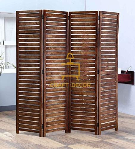 Craft Decor Wooden Room Partition for Living Room, Wood Screen Separator and Wooden Room Wall Dividers 4 Wall Panels for Living Room/Bedroom/Office/ Restaurant (Brown)