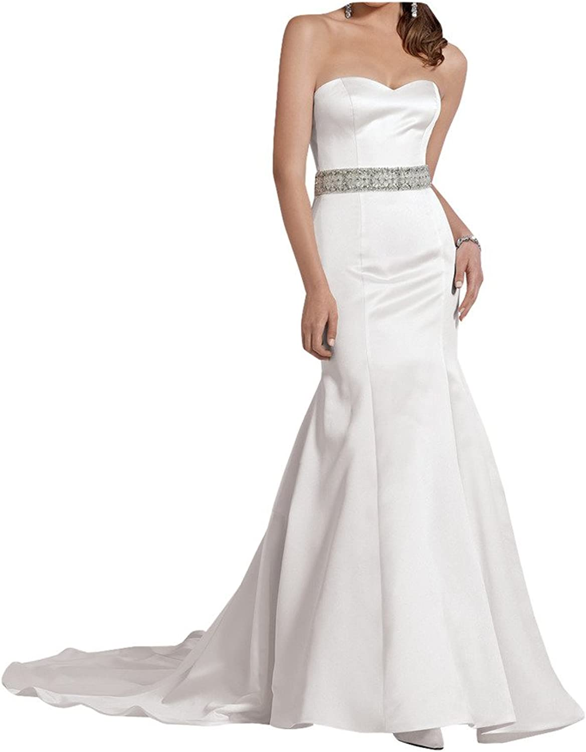 La Mariee Sweetheart Satin Formal Party Dresses Wedding Dress with beading sash
