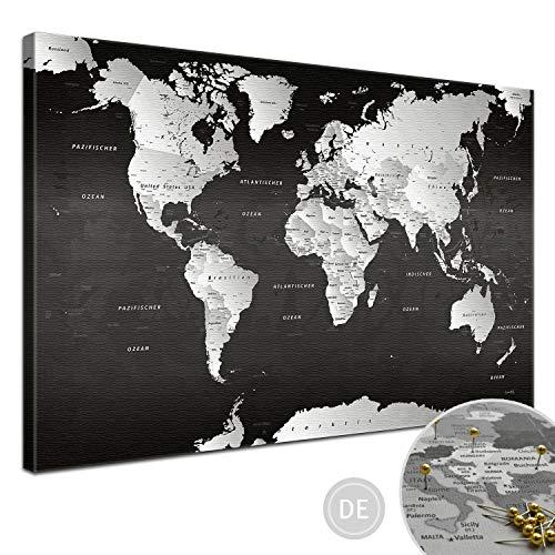 """LANA KK - Weltkarte Leinwandbild mit Korkrückwand zum pinnen der Reiseziele – """"Weltkarte SW"""" - deutsch - Kunstdruck-Pinnwand Globus in schwarz, in 100x70cm"""
