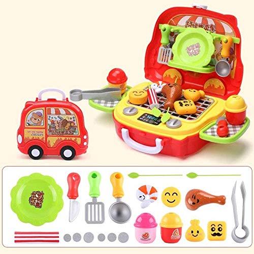 Turtle Story Juego de utensilios de cocina para niños, juego de mesa y maleta, juego de juguete 602-Coco, para regalo infantil, nombre del color: 606 maleta de barbacoa JXNB (color: 606 maleta)