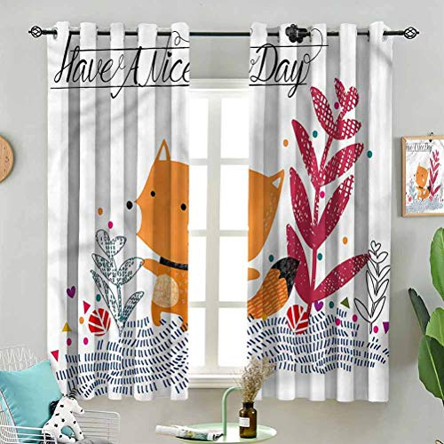 Dasnh Modern Window Curtain Cute Character Geometric W63 x L63 Inch (2 Panels) Indoor for Living Room