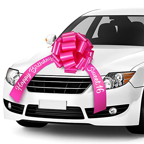 20 Inches Happy Birthday Car Bow Sweet 16 Car Pull Bow Car Gift Wrapping Bow with 20 Feet Car Ribbon for Birthday Party Car Decorations (Rose Red)