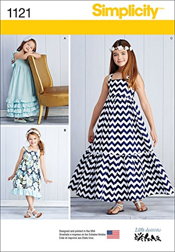 Simplicity 1121 Pull Over Maxi Dress Sewing Pattern for Girls, Sizes 3-6