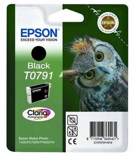 Epson Owl Black Ink Cartridge T0791 Original Negro - Cartucho de Tinta para impresoras (Original, Tinta a Base de pigmentos, Negro, Impresión por inyección de Tinta, 112 mm, 30 mm)