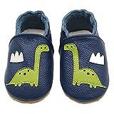 AIEOE Unisex Cartoon Cute Elastic Dresser Handbuch Kuhleder Baby Schuhe Blau+Dinosaurier S 0-6monat
