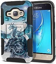 FINCIBO Case Compatible with Samsung Galaxy J1 J120 2016 Express 3 Luna, Dual Layer Hybrid Curve Rigid Armor Heavy Duty Protector Case Cover Kickstand Soft TPU for Galaxy J1 J120 - Blue Ice Dragon