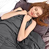 Ourea Weighted Blanket Twin for Adults,Cooling Heavy Blanket 15 pounds, 48'x 72',Soft Fabric with Safe Glass Bead,Dark Grey