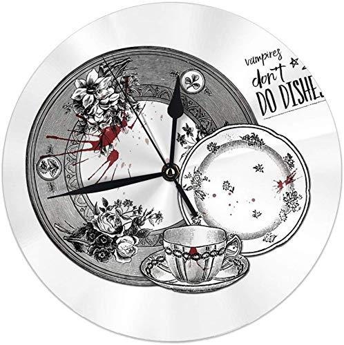 gardenia store Vampires Do Not Do vajilla Round Home Decor Reloj de Pared 9.84inch