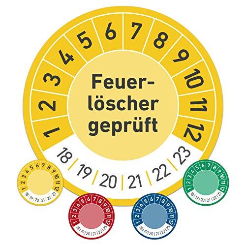 Feuerlöscher geprüft Prüftermin Wartungsplakette Prüfplakette Wartung 20mm Ø gelb (100 Stück)