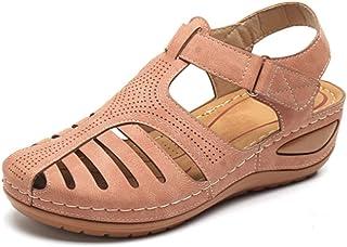 Comfy Wedge Sandal Strap Flat Shoes, Vintage Peep Toe Suede Flats, Wide Fit Sandal