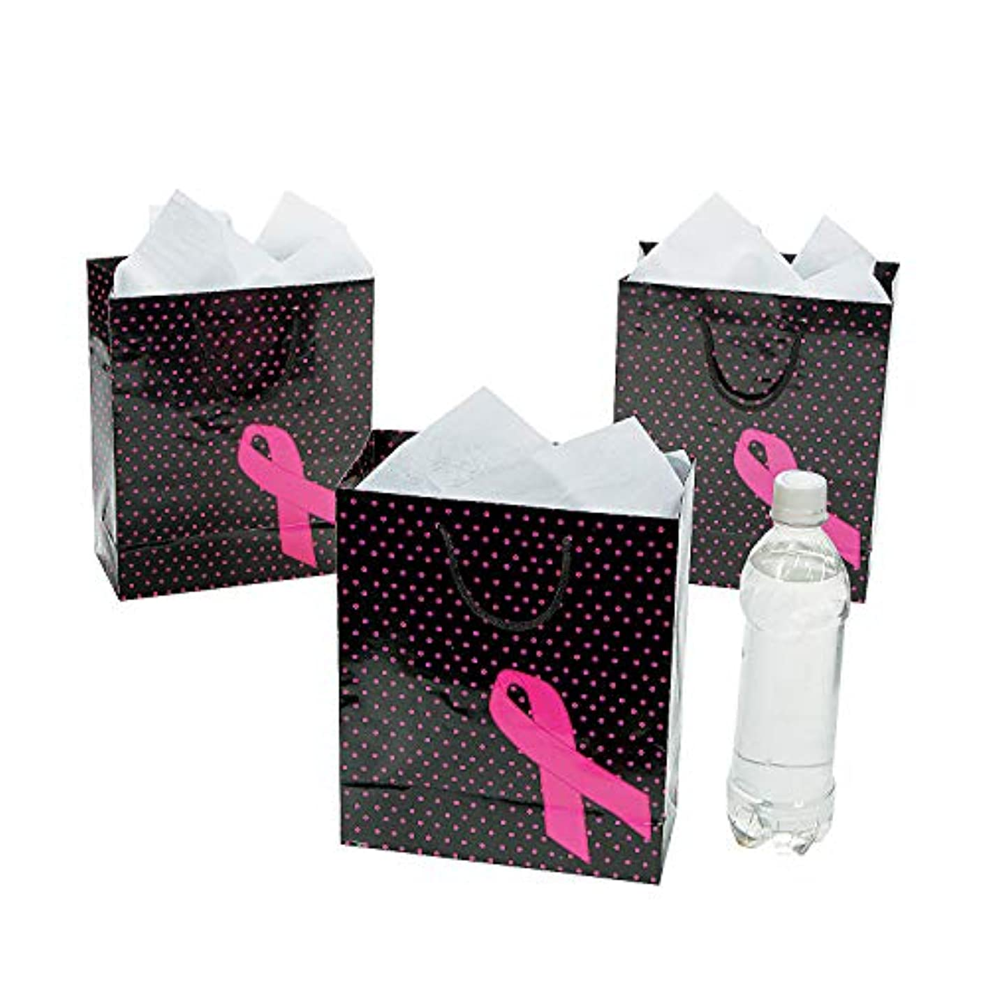 Fun Express - Med Pink Ribbon Gift Bags - Party Supplies - Bags - Paper Gift W & Handles - 12 Pieces