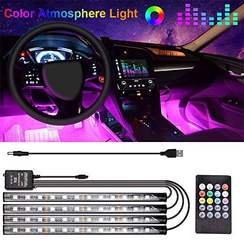 Luz Interior Coche, luz LED Coche Interior Tira Interior Coche LED Iluminación Impermeable 48 LED Multi DIY Color Música Tiras Coche, con del Cargador USB DC 12V