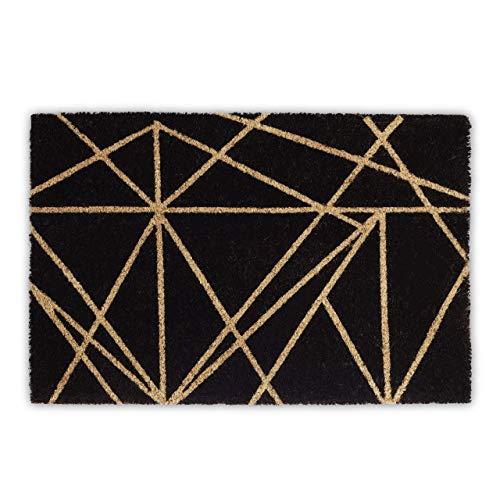 Relaxdays Felpudo de coco con líneas, 1,5 x 60 x 40 cm, rectangular, antideslizante, fibra de coco, goma, negro natural