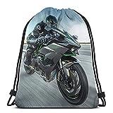 Kawasaki Racing Bikes JDM ATV Ninja Gym bolsa con cordón, mochila deportiva para hombres y mujeres, ligera, grande, portátil, resistente y duradera, mochila de almacenamiento de compras para jóvenes