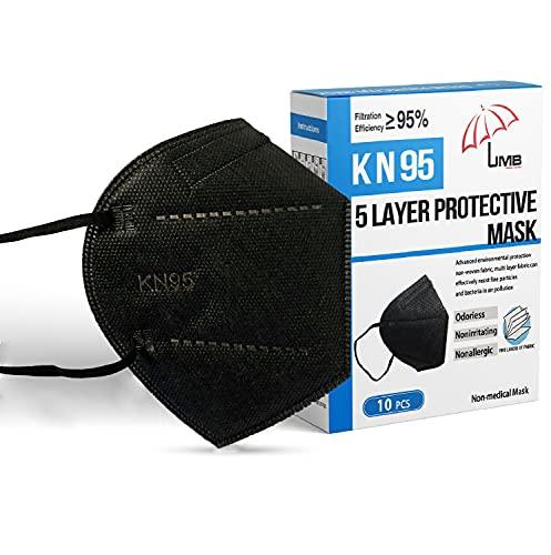 Disposable Face Masks Black Adjustable Nose piece | Individually Wrapped Breathable Face Mask Black mask disposable Respirator Mask |Comfy elastic ear loops Facemask| Soft Black Face Masks | 10 Pack