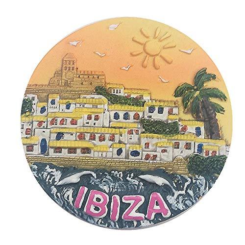 MUYU Magnet Ibiza España 3D imán de Nevera Recuerdo Regalo, decoración del hogar y la Cocina magnético Adhesivo, Ibiza España imán de Nevera