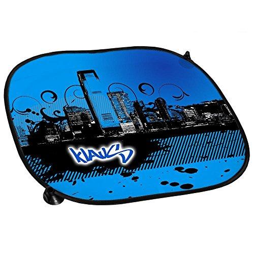 Auto-Sonnenschutz mit Namen Klaus und schönem Motiv mit City-Skyline in der Farbe Blau für Jungen   Auto-Blendschutz   Sonnenblende   Sichtschutz