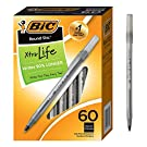 BIC GSM609-Blk Round Stic Xtra Life Ballpoint Pen, Medium Point (1.0mm), Black, 60-Count