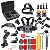 Action Camera Accessories Kit for GoPro HERO6/5/4/GoPro HERO5 Session/AKASO/CROSSTOUR/APEMAN/CAMPARK/YI/XIAOMI/VIVITAR/EKEN, Action Camera Mount 4K Sports Camera Attachments