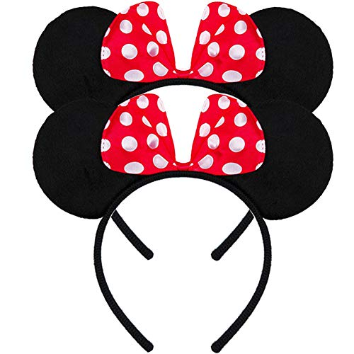 FANYITY Mouse Ears Headbands Sequin Hair Band for Girls Women Boys Party, 2 Pieces(RED POINT)