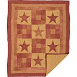 VHC Brands Ninepatch Star Quilted Throw 60x50 Country Patchwork Design, Burgundy