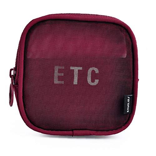 Sac de rangement Voyage Respirant Organisateur cosmétiques Maquillage Portable Pouch Mesh Case 1 Pièces (Rouge, S)