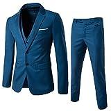 Anzug Herren Slim Fit 3 Teilig Anzüge Herrenanzug Sakko für Hochzeit Business Blau X-Large
