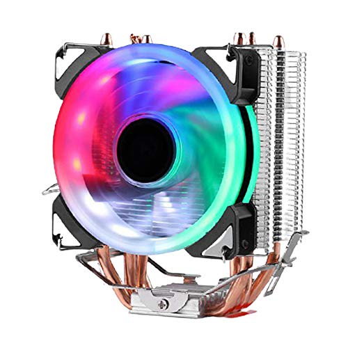 Blesiya Ventilador Enfriador de CPU radiador 12V Colorido RGB LED 3 Pines para Intel LGA775/1150/1151/1155/1156/1366 para zócalo AMD FM2/AM4/FM1/AM3/AM2 - Ventilador de una Sola Torre 1