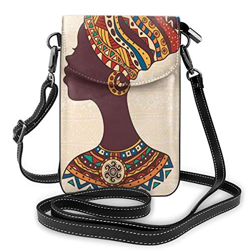 Women Small Cell Phone Purse Crossbody,African Woman In Traditional Ethnic Fashion Dress Portrait Glamour Graphic