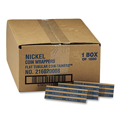 Coin-Tainer Company Pop-Open Flat Paper Coin Wrappers – Nickels – 1,000 ct.