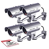 Fitnate Dummy Security Camera, Fitnate 4 Packs Fake Security Camera CCTV Surveillance System