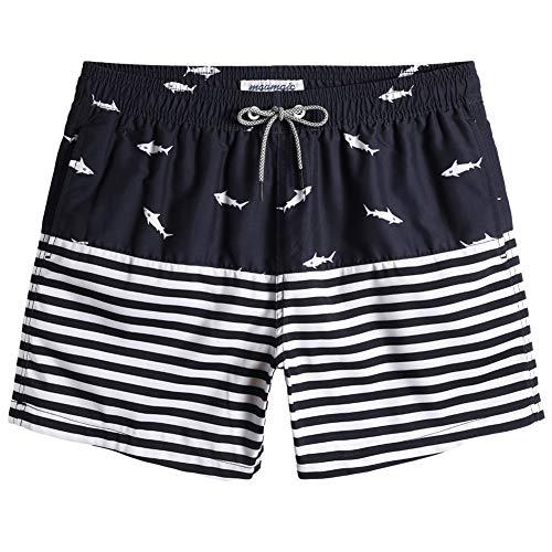 MaaMgic Pantaloncini Corti da Bagno da Uomo Asciugatura Rapida Costume da Bagno con Fodera in Mesh e Coulisse Regolabile, Squalo Blu Navy, XL