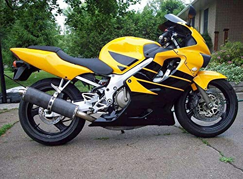 FATExpress Black w/Yellow Strips Fairing Complete Bodywork ABS Plastic Painted Injection Molding Kit for 1999-2000 Honda CBR 600 F4 CBR600F4 CBR600 600F4 Windshield & Heat Shield as