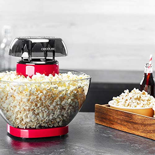 Cecotec Palomitero Fun&Taste P'Corn Easy. 1200 W, Sistema de inyección de Aire, tazón extraíble, Tapa Antiadherente y extraíble, diseño Compacto