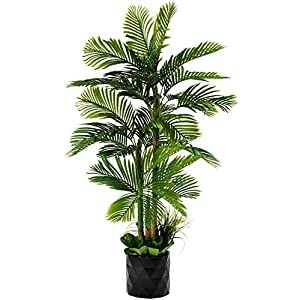 "Silk Flower Arrangements GARDEN COUTURE Deluxe 78"" Golden Cane Palm Artificial Tree + Premium Fiddle Leaf Foliage in 8"" Base + 12"" Plant Pot Skirt"
