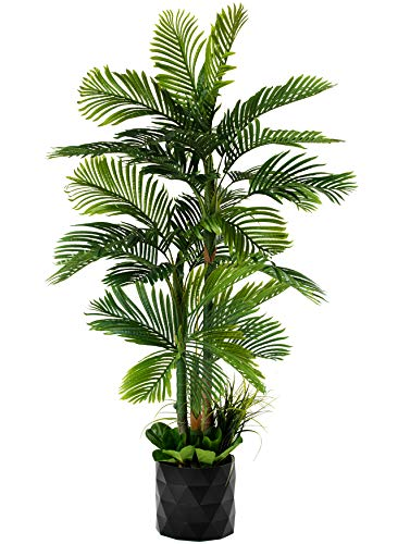 GARDEN COUTURE Deluxe 78' Golden Cane Palm Silk Artificial Tree + Premium Fiddle Leaf Foliage in 8' Base + 12' Plant Pot Skirt