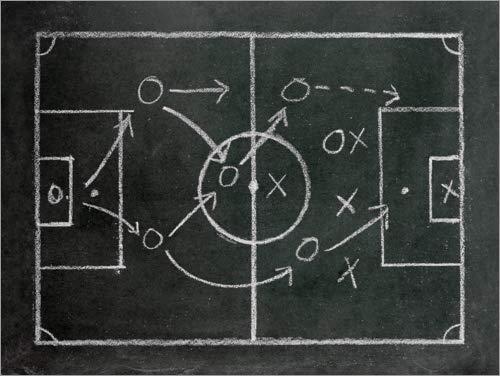 Posterlounge Lienzo 90 x 70 cm: Football Tactics on a Blackboard de...