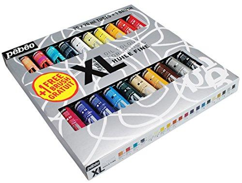 Pébéo - Olio Fine XL Astuccio 20 tubetti da 20 ml assortiti e pennello - Valigetta colori a olio e pennello - Kit colori a olio multisuperfici - 20 tubetti da 20 ml